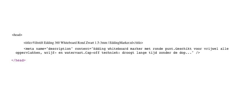 Voorbeeld Meta Tag en Meta description in HTML
