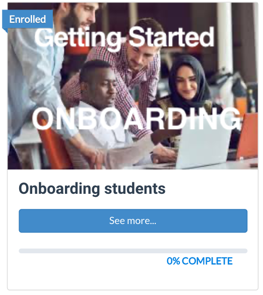 student onboarding course button
